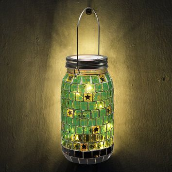 "BRIGHT ZEAL Decorative Mosaic Glass Lights with Starry LED String Light (7"" Jar, GREEN, 6hr Timer, Battery Included) - Decorative Jars with Lids - Mason Jar Lights - LED Jar Decorations 1161R"