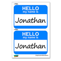 Jonathan Hello My Name Is - Sheet of 2 Stickers