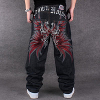 New Fashion Unwash Jeans Hiphop Loose Straight Tube Skateboard Jeans Embroidered Flower Wings Jeans Oversize