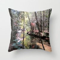Fall in Cavender Creek Throw Pillow by Rosie Brown