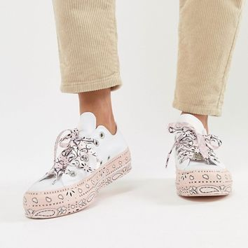 Converse X Miley Cyrus All Star Platform Trainers In White And Pink Bandana Print at asos.com
