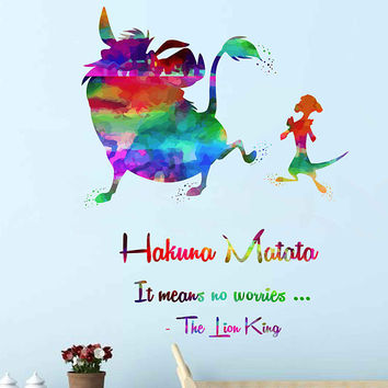 kcik2029 Full Color Wall decal Watercolor Character Disney Sticker Disney children's room Hakuna matata quote The Lion King Pumbaa Timon