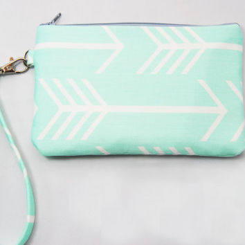 Arrow #wristlet mint green, clutch, iPhone sleeve, smartphone wallet, camera case