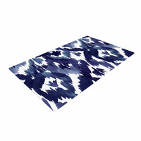 "Crystal Walen ""Indigo Ikat"" - Blue Diamond Woven Area Rug"