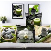 pastoral stone bamboo leaf print Custom sofa throw pillow for living room  chair bed back cushions home decorative pillows