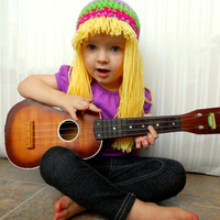 Hippie Baby Hat- Bright Multicolor Crochet Beanie with Blonde Yellow Hair- Hippy Wig-Winter Wear- Halloween Costume