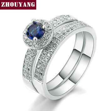 18K White Gold Plated Sapphire Ring Set Fashion Wedding & Engagement Ring Set Jewelry For Women with Austrian Crystal ZYR506