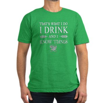 I DRINK Game of Throne Men's Fitted T-Shirt (dark)> I Drink and I Know Things Tyrion Lannister> Scarebaby Design