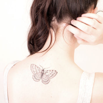 vintage illustration moth temporary tattoo - choose your size - tattoo, night, transformation