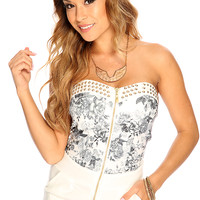 White Charcoal Floral High Polish Metal Stud Sexy Summer Romper