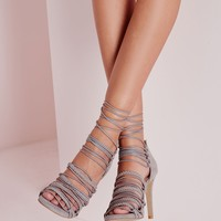 Missguided - Ultra Strappy Lace Up Gladiator Sandals Grey