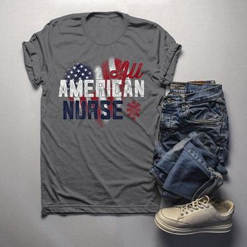 Men's Nurse T Shirt All American Shirt Nurse Tee Nurses Shirts Caduceus Patriotic Graphic Tee Flag