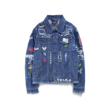 Graffiti Hand Painted Women Men Denim Jackets Mens 2017 Harajuku Printed Jeans Coat Hip Hop Casual Denim Jacket Coats Black Blue