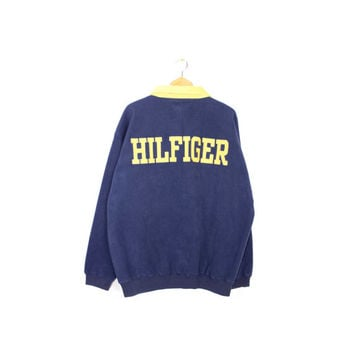 90s TOMMY HILFIGER fleece - vintage 1990s - big spell out logo - flag logo - sweatshirt - embroidered patch