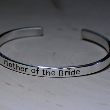 Silver Bracelet Mother of the bride cuff bracelet in sterling silver