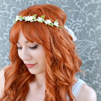 Bridal crown dainty white flower hair crown by gardensofwhimsy
