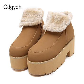 Gdgydh Fashion Warm Fur Winter Shoes Women Snow Boots  2017 New Slip-resistant Platform Female Cotton-padded Shoes Black Plush