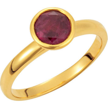 Missoma® 18k Yellow Gold Vermeil Pink Tourmaline Stackable Ring