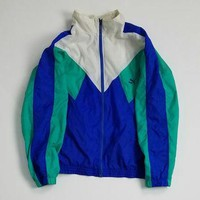 Puma Windbreaker Colorblock Jacket Size Large, Vintage Puma Nylon Jacket