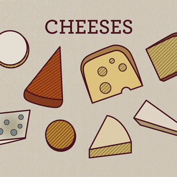 Cheeses Art Print - Funny Print, Quirky Art, Cute Art, Food Art, Swiss Cheese, Art for Kitchen, Wall Art Home Decor, Funny Gift, Funny Ar, t