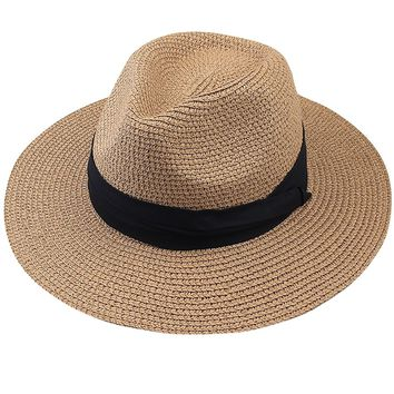 FURTALK Panama Roll up Hat Fedora Beach Sun Hat UPF50+ Braid Straw Short Brim Jazz Panama Cap for Women Men