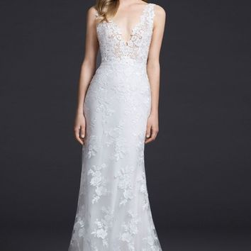 Lazaro Venice Lace Sheath Gown | Nordstrom