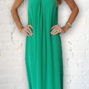 Alexis Alona Maxi Dress w Metal Pendants in Emerald