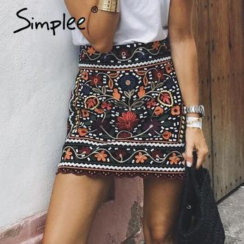 Simplee Bohemian embroidery black floral short skirt Ethnic autumn winter high waist slim women skirt Vintage 90's mini skirts