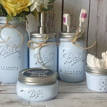 Mason Jar Bathroom Vanity Set / Set of 5 Jars / Light Blue Painted Mason Jars