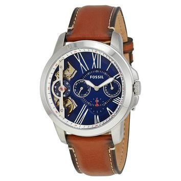 Fossil Grant Blue Dial Automatic Mens Chronograph Watch ME1161