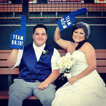 Photobooth Props - Royal Blue Team Bride & Team Groom Foam Fingers - Dodger Blue