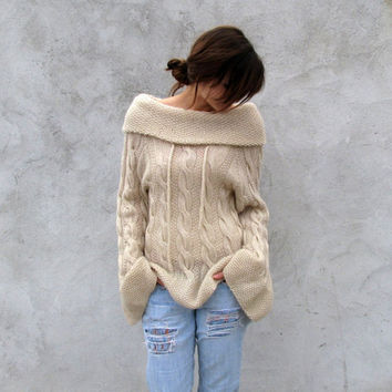 Hand knitted Sweater S/M by novaknata on Etsy