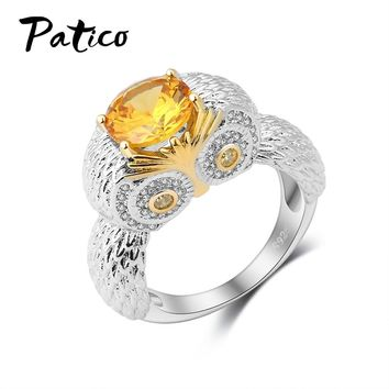 PATICO Vintage 925 Sterling Silver Night Owl Charms Rings for Female Yellow Oval Crystal Cubic Zircon Stone Jewelry Bague