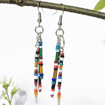 Vintage beaded earrings. Antique italian glass seed beads. Handmade Lightweight Dangly. Boho jewelry. Tribal earrings. Gift wife girlfriend.