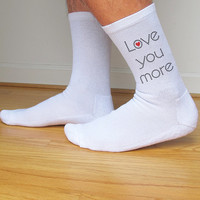 LOVE You More Valentine Socks, Custom Printed Personalized Men's Crew Socks, Valentine Gift Idea, Valentine's Day, Black or White Set of 3