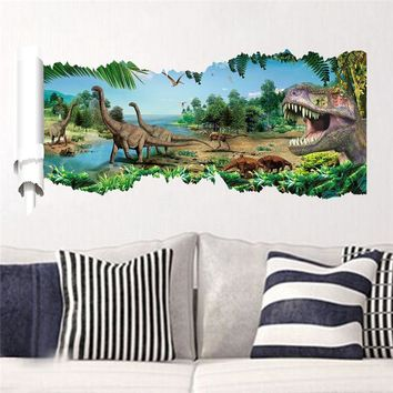 3d dinosaurs wall stickers jurassic park home decoration 1458. diy cartoon kids room animals decals movie mural art posters 4.0