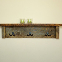 Barn Wood Coat Rack w/Shelf