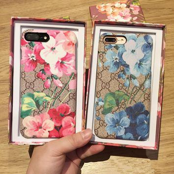 """Gucci"" Temperament Retro Leather GG Flower Print iPhone6/6S Phone Hard Shell iPhone7 Plus Apple Phone Case"
