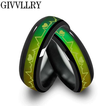 Fashion Titanium Black Mood Rings Temperature Emotion Feeling Engagement Rings for Women Men Jewelry Change Rings for Couples