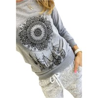 Feitong Women feather print T shirt O-neck long sleeve shirts vintage loose Roupas Femininas casual street wear tops #OR1