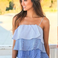 White and Blue Striped Ruffled Top