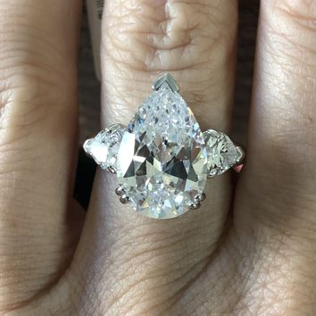 A Perfect 4.4CT Pear Cut Russian Lab Diamond Ring with Trillion Accents