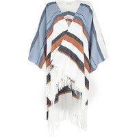 River Island Womens White stripe blanket cape