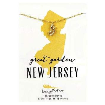 State of New Jersey Necklace in 14k Yellow Gold-Plate