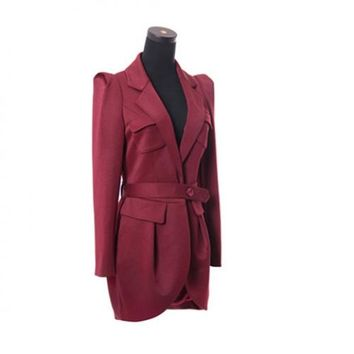 Solid Color Fashionable Style Polyester Long Sleeves Tailored Collar Women's Blazer
