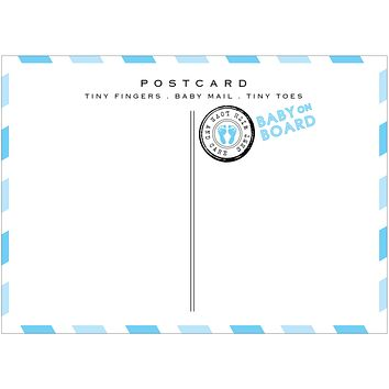 Baby Boy Airmail Postcards - Baby Shower Thank You Announcements - Pack of 10