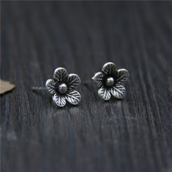 S925 Thai silver retro Beautiful flower stud earrings handmade for female fashion Temperament jewelry J0929-in Stud Earrings from Jewelry & Accessories on Aliexpress.com   Alibaba Group