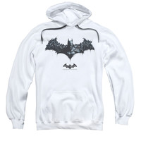 Batman Men's  Bat Of Enemies Hooded Sweatshirt White Rockabilia