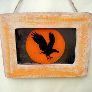 Raven with Orange Moon Antiqued Mirror Rustic Black Bird Crow Flying Handmade Country Primitive Fall Cottage Shabby Chic Poe Home Decor Wall