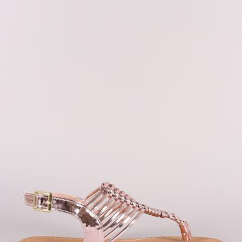 Qupid Metallic Woven Gladiator Thong Flat Sandal